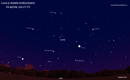 Pe 26 aprilie Luna va fi prizoniera stelelor strălucitoare