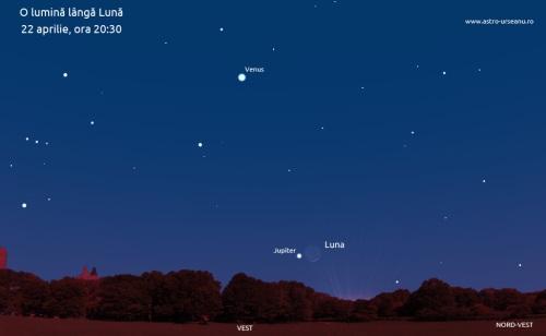 Luna lângă Jupiter pe 22 aprilie