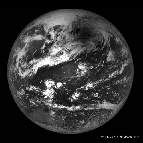 Penumbra Lunii pe glob la eclipsa inelară de pe 20-21 mai 2012. Foto: NASA/GSFC/Arizona State University
