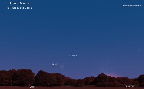 Luna și Mercur pe cerul de seară:  21 iunie, ora 21:15