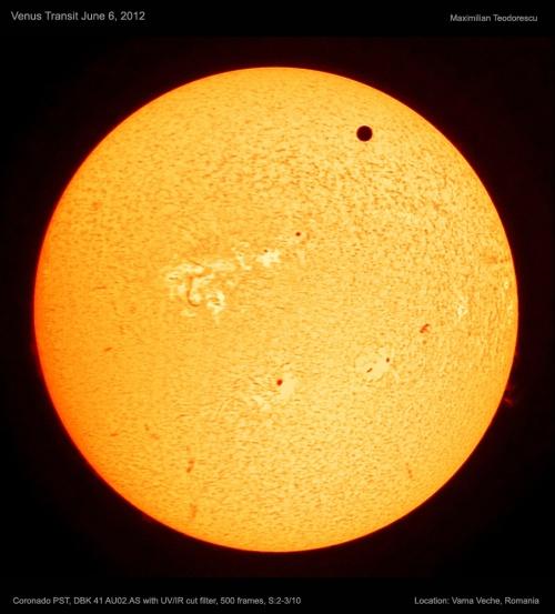 Tranzitul lui Venus în h-alpha. Foto: Maximilian Teodorescu