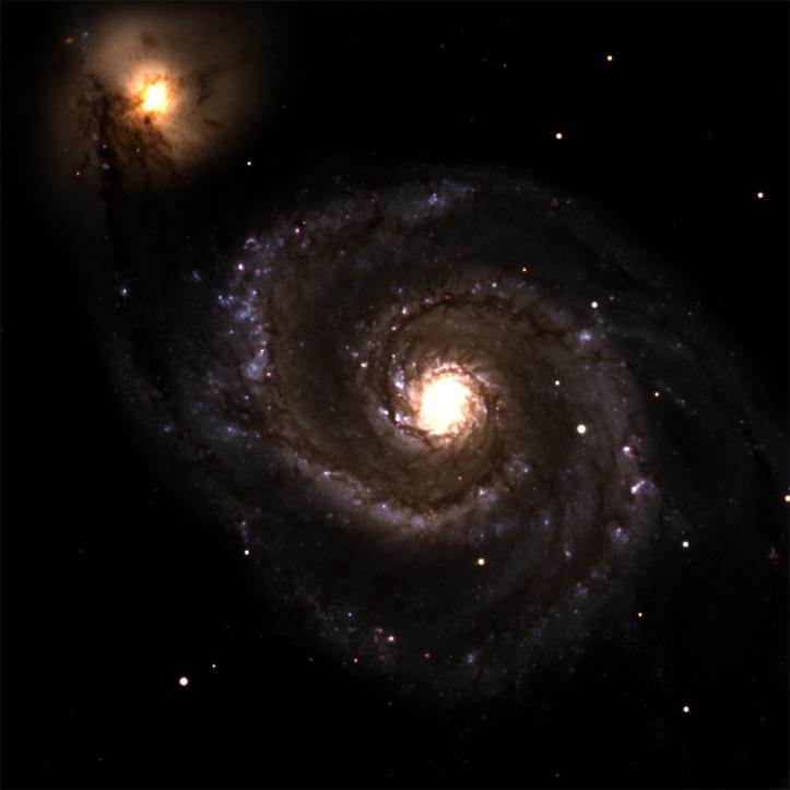Galaxia spirală Messier 51, aflată la 23 milioane de ani lumină. Telescopul Discovery Channel. Foto: Lowell Observatory/DCT