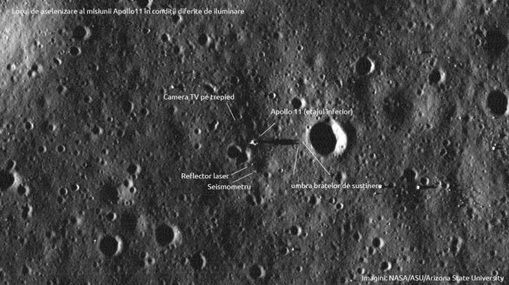 Artefacte Apollo 11 sub iluminare diferită - umbra etajului inferior. Foto: NASA/ASU/Arizona State University