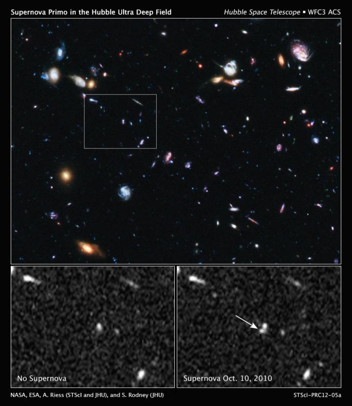 SN Primo - cea mai îndepărtată supernovă de tip 1a descoperită până în prezent. Foto:   NASA, ESA, A. Riess (Space Telescope Science Institute and The Johns Hopkins University), and S. Rodney (The Johns Hopkins University)