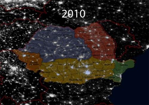 România noaptea și județele sale. Foto: NGDC/DMSP/ESA