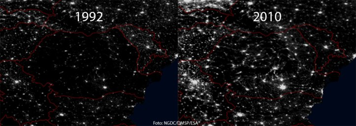 Iluminarea României. Foto: NGDC/DMSP/ESA