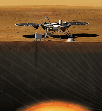 Sonda InSight. Ilustrație: NASA/JPL