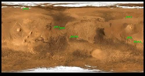 Locurile de asolizare ale sondelor marțiene. Hartă realizata cu Mars24/NASA
