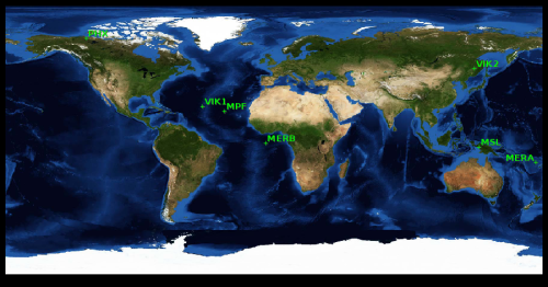Unde s-ar afla sondele marțiene dacă ar fi asolizat pe Pământ. Harta: MARS24/NASA GISS