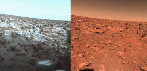 Locul de asolizare al sondei Viking 2 iarna (stânga) și vara (dreapta). Și da, în imaginea de iarnă se vede zăpadă la sol. Foto: NASA/JPL
