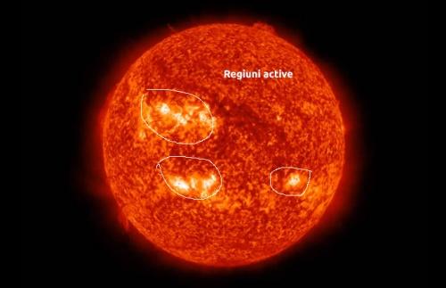 Trei regiuni active incepului lunii iulie. Foto: NASA/SDO