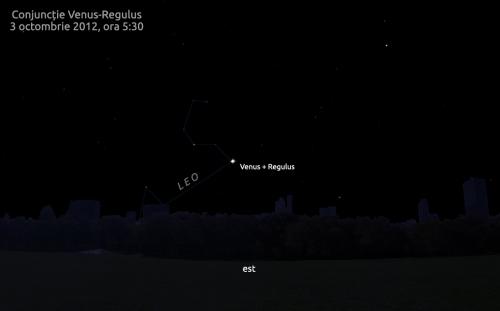 Venus și Regulus pe cerul de dimineață