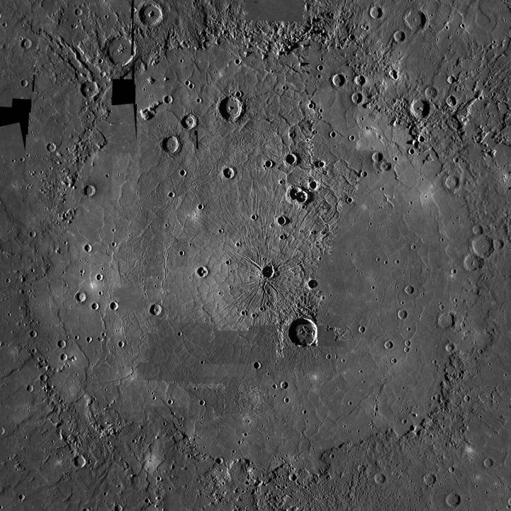 Bazinul Caloris. Foto: Foto: NASA/Johns Hopkins University Applied Physics Laboratory/Carnegie Institution of Washington