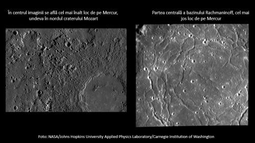 Cele mai înalte/joase locuri de pe Mercur. Foto: NASA/Johns Hopkins University Applied Physics Laboratory/Carnegie Institution of Washington