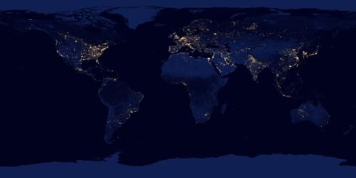 Pământul noaptea - 2012. Foto: NASA Earth Observatory/NOAA NGDC
