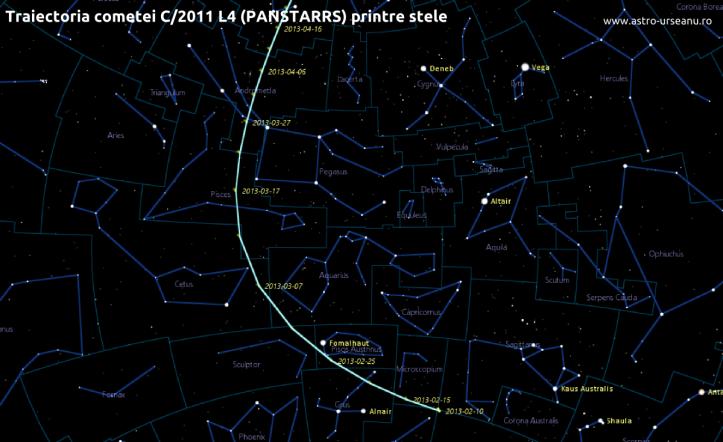 Traiectoria comete C/2011 L4 (PANSTARRS) printre stele