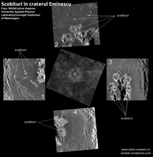 Scobituri în craterul Eminescu. Foto: NASA/Johns Hopkins University Applied Physics Laboratory/Carnegie Institution of Washington