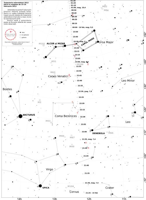 Hartă pentru identificarea asteroidului 2012 DA14