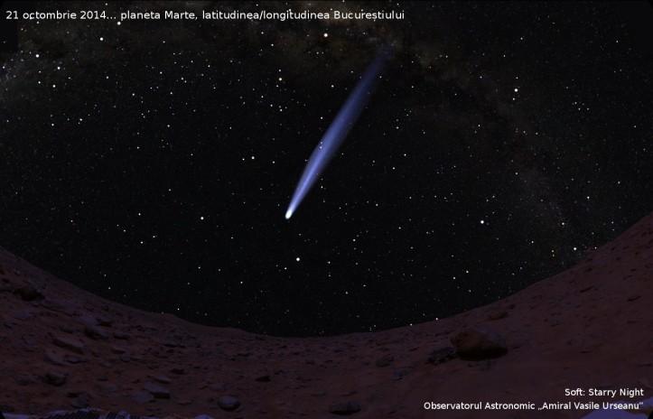 Cometa C/2013 A1 văzută de pe Marte