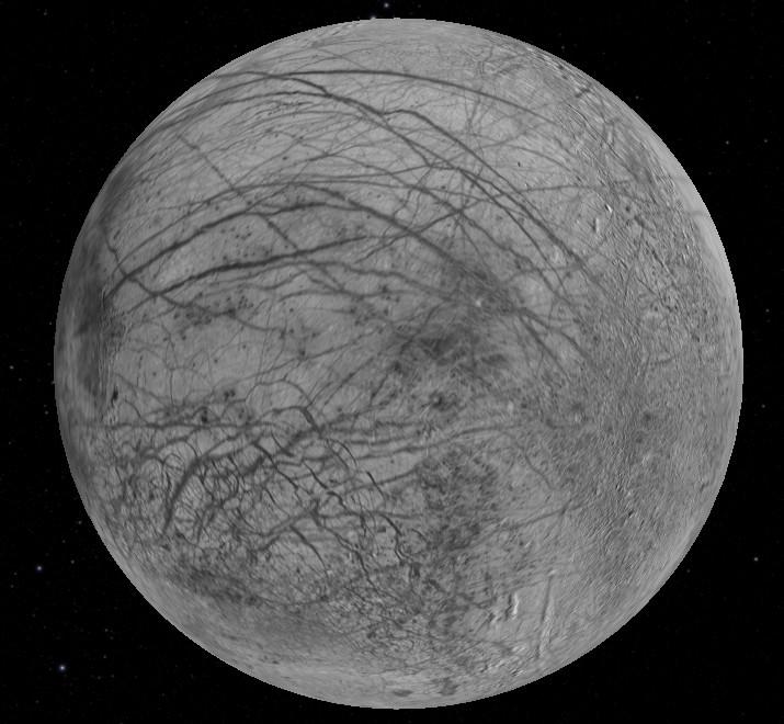 Europa: emisfera îndreptată în partea opusă lui Jupiter. Foto: NASA/JPL/Space Science Institute