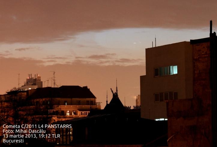 Cometa C/2011 L4 PANSTARRS fotografiată din București. Foto: Mihai Dascălu