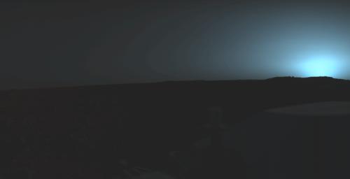 Apus de Soare pe Marte - august 1976, sonda Viking 1. Foto: NASA/JPL/Roel van der Hoorn