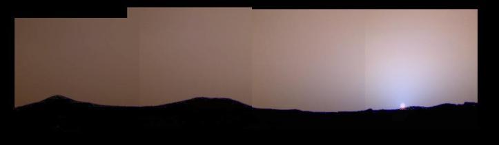 Apus de Soare pe Marte - august 1997, Mars Pathfinder. Foto: NASA/JPL