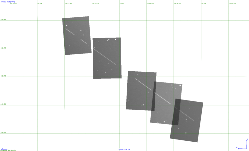 Poziția asteroidului timp de trei ore, în noaptea de 1 spre 2 iunie 2013