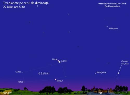 Marte și Jupiter pe cerul de dimineață