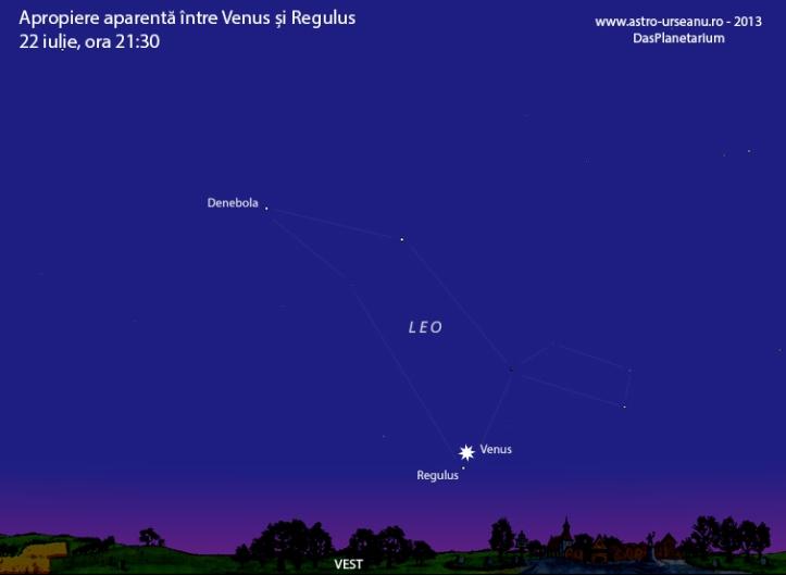 Venus și Regulus aproape una de alta în seara de 22 iulie
