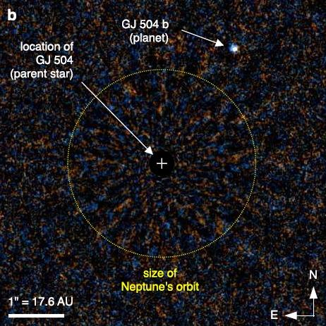 Planeta stelei GJ 504. Foto: http://arxiv.org/pdf/1307.2886v1.pdf