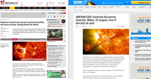 Erupția solară pe două siteuri extrem de vizitate