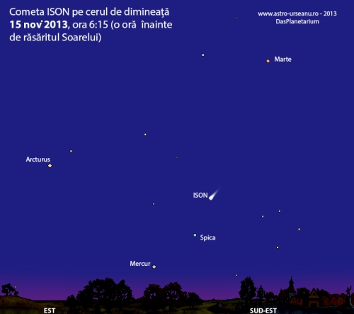 Poziția cometei ISON în dimineața de 15 noiembrie 2013. Strălucirea cometei va fi mai mică decât în ilustrația de mai sus.