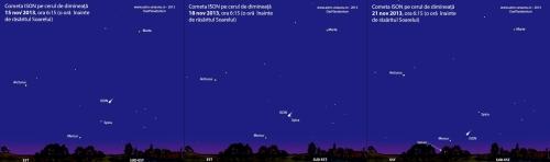 Poziția cometei ISON. Strălucirea acesteia este mai mică decât se vede în ilustrația de mai sus