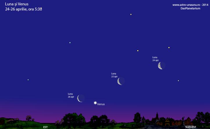 Luna și Venus pe cerul de dimineață