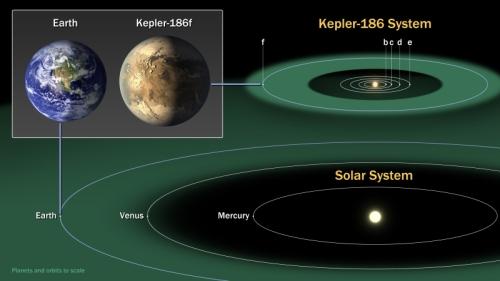 Ilustrație a orbitei planetei f (cea despre care este articolul). Dupa cum vedeți în sistem mai sunt alte planete, și mai apropiate de stea. Ilustratie: NASA Ames/SETI Institute/JPL-CalTech