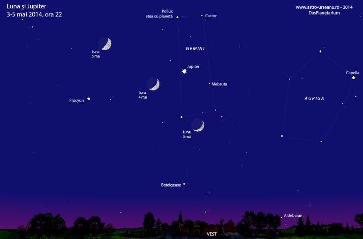 Luna și Jupiter în perioada 3-5 mai, ora 22