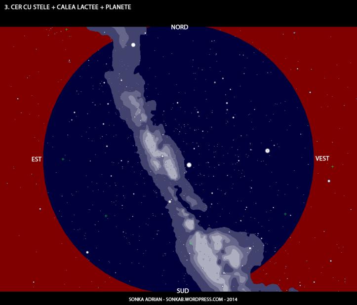 Cer cu stele, Calea Lactee și planete - 1 iulie, ora 23