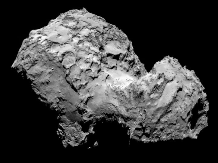 Cometa 67P de la 100 km depărtare. Foto:  ESA/Rosetta/MPS for OSIRIS Team MPS/UPD/LAM/IAA/SSO/INTA/UPM/DASP/IDA