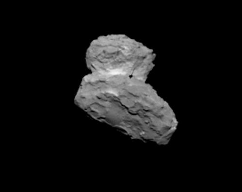 Cometa 67P/Churyumov-Gerasimenko de la 1000 de km depărtare. Foto: ESA/Rosetta/MPS for OSIRIS Team MPS/UPD/LAM/IAA/SSO/INTA/UPM/DASP/IDA