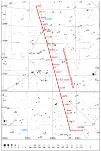 Traiectoria asteroidului 2004 BL86 printre stele în noaptea de 26 spre 27 ianuarie