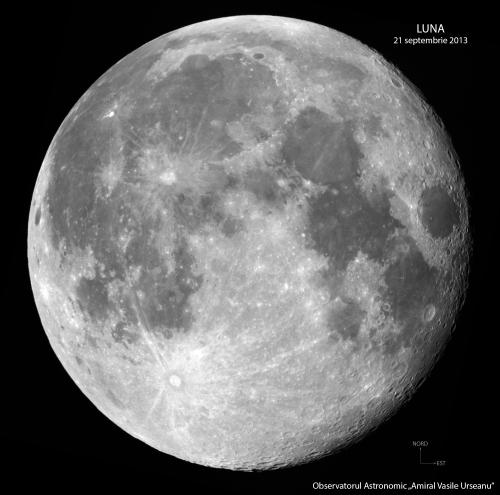 Luna aproape plină. Vedeți pete albe? Foto: Observatorul Astronomic Amiral Vasile Urseanu/Adrian Șonka