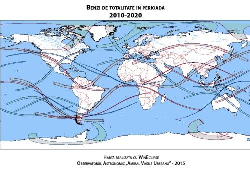 Benzi de totalitate pe glob în perioada 2010-2020. În text se explică de ce unele sunt mai groase decât altele