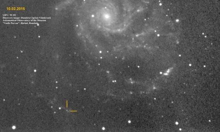 Galaxia Messier 101 și steaua nouă descoperită la Observatorul din Bârlad. Foto: Dumitru Ciprian Vîntdevară