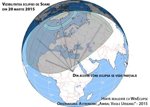 Vizibilitatea eclipsei pe glob
