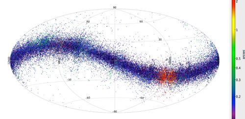 """Fiecare punct albastru și roșu este un asteroid observat de Gaia. Toți se află pe """"ecliptică"""", planul sistemului solar. Foto: ESA/Gaia/DPAC/CU4, L. Galluccio, F. Mignard, P. Tanga (Observatoire de la Côte d'Azur)"""