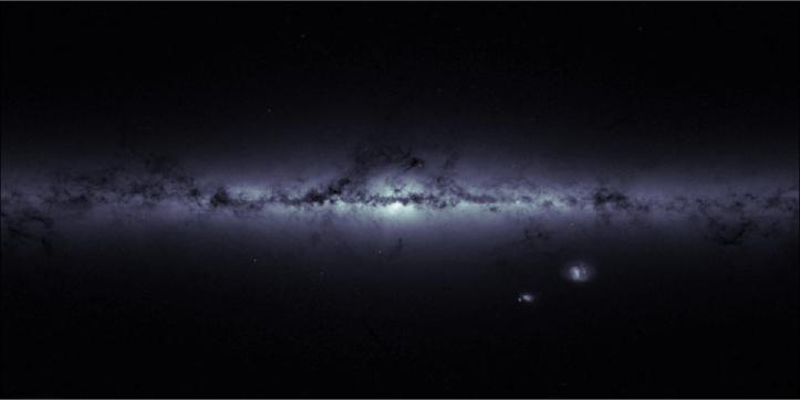 În această imagine a Căii Lactee este realizată nu se văd stele ci densitățile de stele vizibile la un moment dat în câmpurile telescopului. Foto: ESA/Gaia – CC BY-SA 3.0 IGO