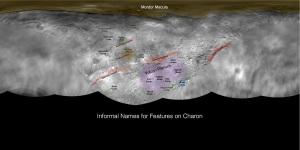 Harta lui Charon, pe care se găsesc nume foarte familiare. Foto: NASA
