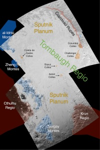 O mică zonă de pe Pluto, cu denumirile aferente. Hartă realizată de NASA