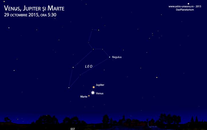 Trei planete în dimineața de 29 octombrie, ora 5:30